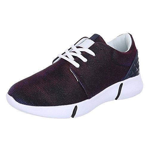 Ital-Design Low-Top Sneaker Damenschuhe Low-Top Sneakers Schnürsenkel Freizeitschuhe Dunkelblau L102