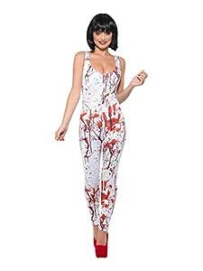 Smiffys 44759M - Disfraz de salpicadura de sangre para mujer, color blanco y rojo, talla M