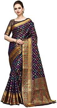 COTTON SHOPY Women's Banarasi Art Silk Blend Saree With Blouse P