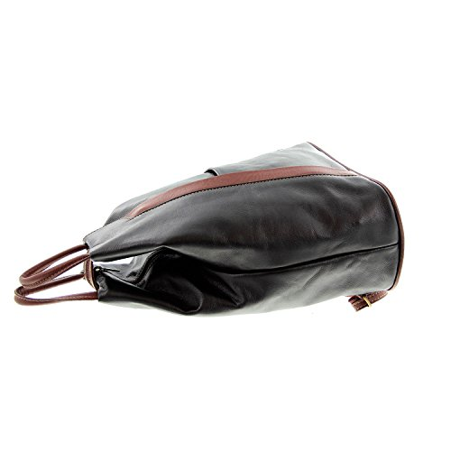 IO.IO.MIO leichter echt Leder Damenrucksack CityRucksack DayPack freie Farbwahl , 27-18x30x13 cm (B x H x T) Schwarz/Braun