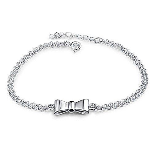 Ragazze Arco-nodo di catena in argento 925 braccialetto chiusura chiusura di collegamento 18cm