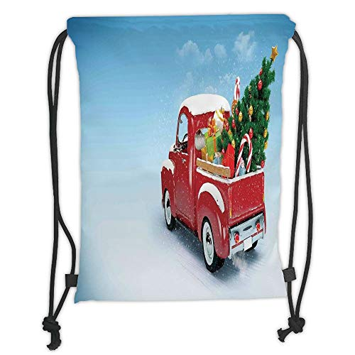 Drawstring Backpacks Bags,Christmas,Red Classical Pickup Truck with Tree Gifts and Ornaments Snowy Winter Day Image Decorative,Blue Red Soft Satin,5 Liter Capacity,Adjustable Strin