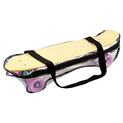 FunTomia Mini-Board 57cm Skateboard mit oder ohne LED Leuchtrollen inkl. Aluminium Truck und ABEC-11 Kugellager in verschiedenen Pastell-Farben zur Auswahl T-Tool (Deck in Pastell-gelb/ Rollen in flieder ohne LED + T-Tool + Lenkgummis) -