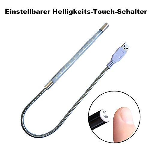 Eleidgs 10 LED, USB geführte Streifen-Licht, Dimmable heller Stab für PC oder Laptop angetriebene Notizbuch-Reisende kampierende Wandern Lesung Schreiben Note Dimmable On-Off (Silber)