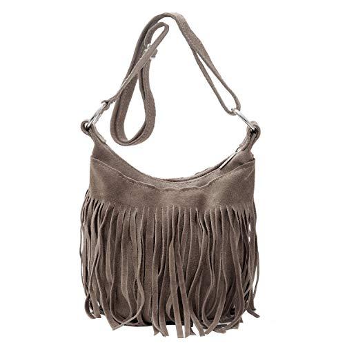 Damen Tasche Leder, Schultertasche, Umhängetasche mit Fransen, (23/17/ 15 cm) echtes Leder Mod. 2063 by Fashion-Formel - Wildleder Fransen Tasche