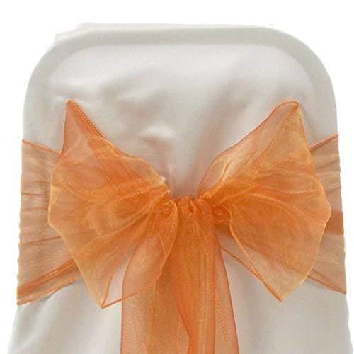 Trimming Shop Organza Sessel Schärpen Hochzeit Breit Schleife Fuller Sessel Dekoration in Geburtstag Party Events - Korallen-orange, 17cm X 280cm