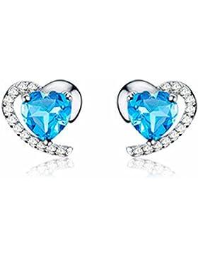 findout Sterling Silber Amethyst blaue Kristall-Herz Zirkonia Ohrringe (F1681)