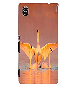 ColourCraft Beautiful Swans Design Back Case Cover for SONY XPERIA M4 AQUA