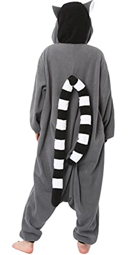 DELEY Unisexe Kigurumi Animal Adulte Vêtements De Nuit Chaude Onesies Pyjama Cosplay Homewear Anime Costume Lémurien