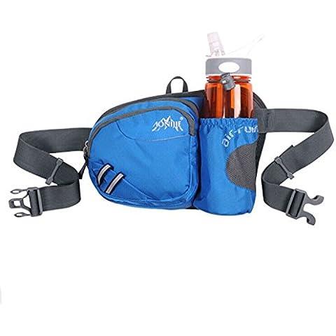 MaMaison007 Camping excursiones de bolso de la cintura al aire libre Deportes ciclismo viajan bolsa portabotellas-azul