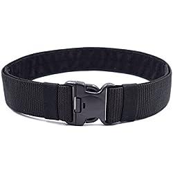 BESTOMZ Cinturón militar unisex Correa táctica para cinturón ajustable al aire libre con hebilla de liberación rápida 120x5.5x0.3CM (Negro)