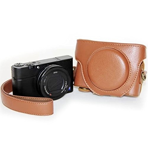 Shuo lan Kamerazubehör Kameratasche Retro Style Leder Kameratasche Tasche mit Trageriemen für Sony RX100 M3 (Farbe : Braun)