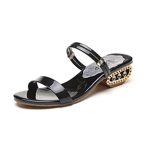 ZYUSHIZ Frau Western mit zwei Sandalen mit flachem Boden Open Toe coole Hausschuhe Bold Text mit wilden Sandalen 38EU