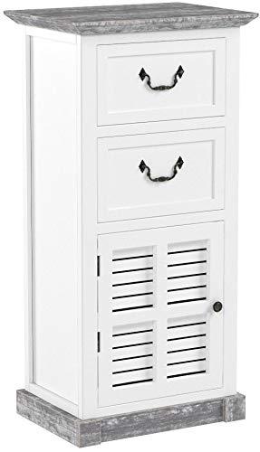 CLP Holzkommode Mackenzie im Landhausstil I Holzschrank mit Zwei Schubladen und Einer luftdurchlässigen Tür Weiß