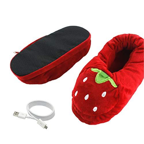 DULEE USB Aufladbare Winter Fußwärmer Plüsch Beheizbare Hausschuhe,Erdbeere 35/38