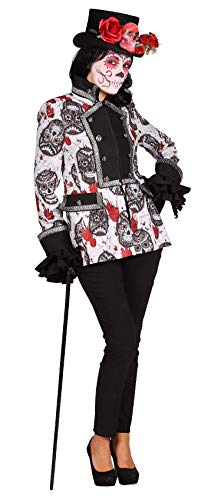 narrenkiste T2364-SKUB-XL Gravedigger Totenkopf Damen Jacke Tag der Toten/Mexican Skull Gr.XL