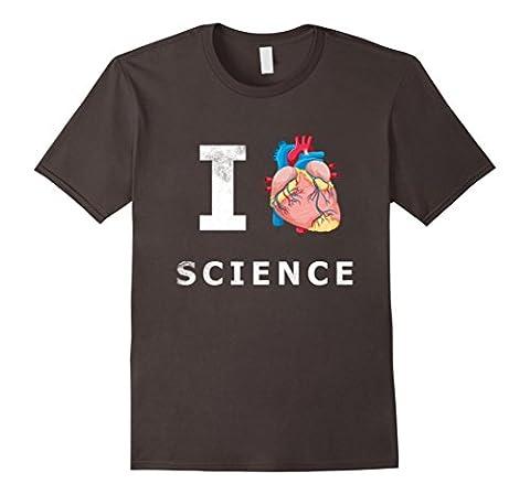 Men's I Love Science Real Anatomical Heart T shirt Emoji Nerd Tee Small Asphalt