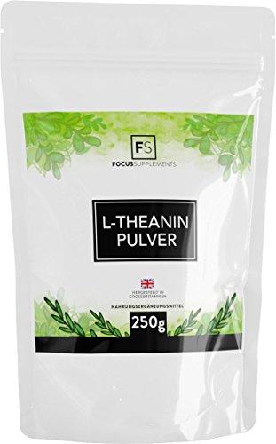 L-Theanin Pulver [250 g] | RUHE & KONZENTRATION | Entspannung durch grünen Tee | Vegan, ohne GVO, Gluten & Milch | Verpackt in ISO-zertifizierten Betrieben in GB -