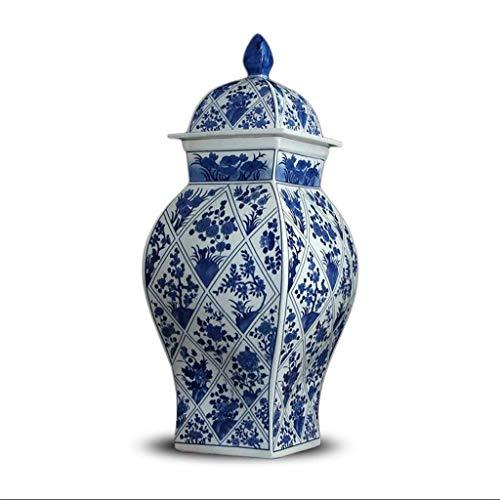 orratsgläser Mit Deckel Blaue Und Weiße Porzellanvase Ornamente Für Wohnzimmer Deko Büro Keramikglas 59 cm * 23 cm ()