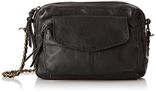 PIECES Ps Naina Leather Cross Over Bag - Borse a spalla Donna, Schwarz (Black), 5x15x21 cm (L x H D)