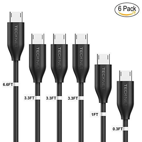 TeckNet Cable Micro USB 6-Pack [0.1M, 0.3M, 1M * 3, 2M] Cables de sinc