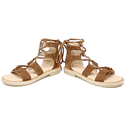 COOLCEPT Femmes Mode Lacets Sandales Gladiator Zip Sandales Orteil ouvert Chaussures Jaune