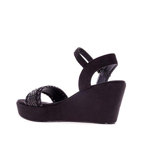 Andres Machado. AM5132.Chaussures Compensées en suèdine. Petites et Grandes Pointures 32/35-42/45. Noir