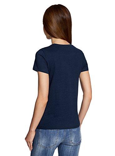 oodji Ultra Damen Gerades T-Shirt mit Stickerei Blau (7919P)