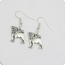 Pug perro pendientes–Pendientes–joyas de perro–perro amante regalo–Animal Jewelry–Pendientes–Pendientes–Pendientes colgantes–Mascota