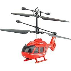 Cinnamou Juguete Teledirigido Infrarrojo del USB Helicóptero Mini RC Sensor led Luces para los Principiantes de los Niños del Juego Interior (Rojo)