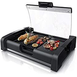 Arendo - Barbecue électrique de table Gourmet|Gril de table/Gril électrique | 1650 W | couvercle en verre | pour balcon, jardin, l'intérieur | Régulateur de température avec 5 niveaux | GS certifié