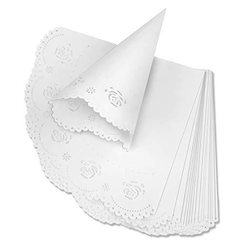 Teemico Hochzeits-Konfetti-Aufbewahrungskegel für Blütenblätter, Lavendel, Konfetti, kleines Blumenstrauß, Süßigkeitenbüfett und Party-Dekoration 50pcs weiß