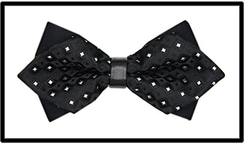 IXI.XIX Pajarita azul negro cuadrado vestido formal de la boda de los hombres de la versión coreana de la boda doble corbata de cuero del novio de la boda, Q