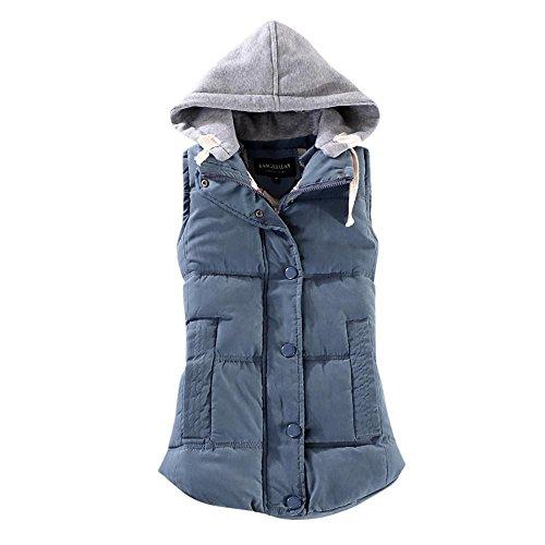 Rosennie Damen Weste Mit Kapuze Übergangsweste Winter Warm Ärmellos Sweatweste Jacke Baumwolle Solide Waistcoat Herbst Jacket Outerwear Mantel (2XL, Blau)