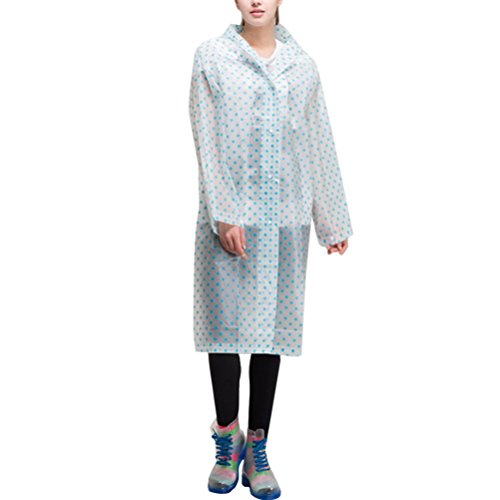 Zhhlaixing Outdoor Fashion Dots Waterproof Raincoat Unisex Portable Foldable Rainwear Blue