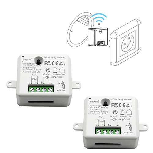 LoraTap 2er Pack Wifi Schalter Relais Modul Smart Home Switch mit Timer Fernbedienung über Handy für Hausautomation DIY Auf-/Unterputz Kompatibel mit Google Home -
