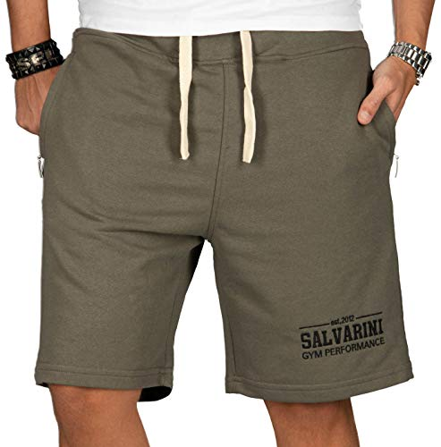 A. Salvarini Herren Sport Jogging Short Fitness Kurze Hose Trainingshose AS130 [AS-130-Khaki-Gr.XXL] -