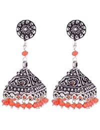 Ganapathy Gems Ethnic Antique Oxidised Silver Plated Orange Metal Jhumki Earing For Women & Girls