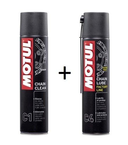 2er-Pack Reinigungs- und Schmierspray Motul C1und Motul C4, 400ml, speziell für die Straße -