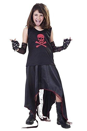 KINDERKOSTÜM - PUNKERIN - Größe 130-140 cm, USA Amerika 70er 80er Jahre Rebell Jugend Kultur provozierend Bewegung (Jugend Mädchen Halloween Kostüme)