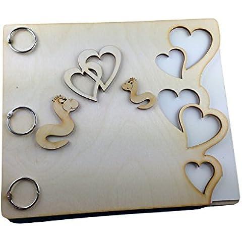 Petra S Kit creativo News a meb1624BW Set bricolage con, Memory libro 'Cuori, I', legno/carta, dimensioni circa 25x 20,5cm