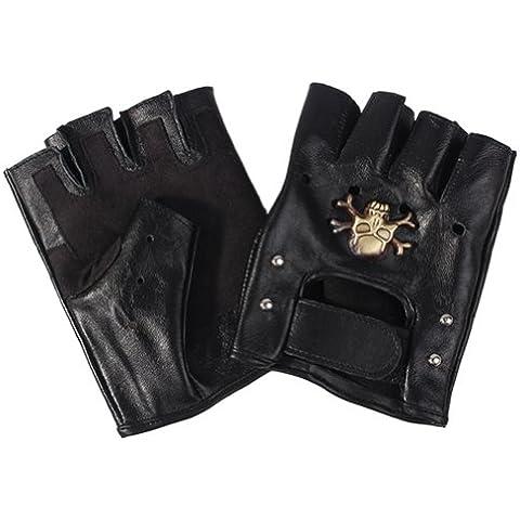 Feichen Guantes para Hombre guantes moto medio dedo decoración de cráneo