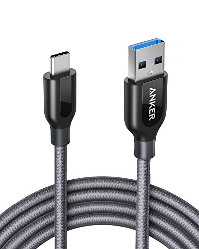 Anker Powerline+ 1.8m USB C Kabel auf USB 3.0 A, Nylon Ladekabel für USB Typ-C Geräte InklusiveGalaxy S8, S8+, S9,S10, MacBook, Sony XZ, LG V20 G5 G6, HTC 10, Xiaomi 5 und weitere (Grau) -