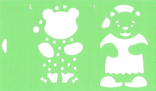 30cm x 17,5cm Flexibel Kunststoff Universal Schablone (2 Schritten) - Textil Kuchen Wand Airbrush Möbel Dekor Dekorative Muster Torte Design Technisches Zeichnen Zeichenschablone Wandschablone Kuchenschablone - Schläfriger Bär Tierspielzeug