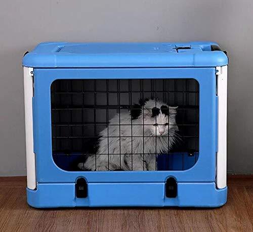 BTHDPP Hallóþarna Faltbarer Hundewelpen-Katzen-Haustier-tragbarer Käfig-Zwinger Zusammenklappbare Metallkiste Abnehmbarer Käfig Für Kleine Und Mittlere Hunde,Blue (Mittlerer Hund Käfig)
