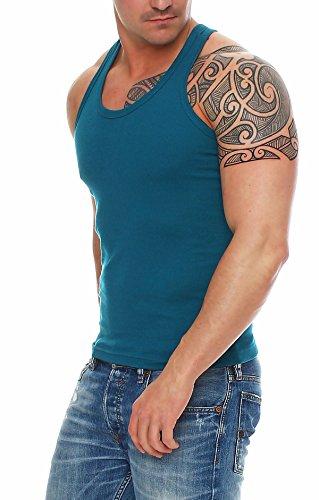 Herren Unterhemden Fitessshirt Ramboshirt Sport T-Shirt Achselhemd Muskelshirt Baumwolle von SGS Türkis