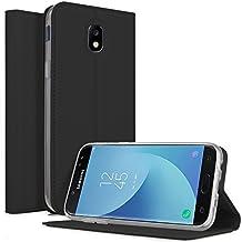 Funda Samsung Galaxy J5 2017 Carcasa, KuGi Slim Flip Cover Carcasa Cubierta de cuero PU Multi-Angle Shockproof Silicio Protectora de Carcasa con Soporte Plegable para Samsung Galaxy J5 2017 Smartphone(Slim Book Series - Negro)