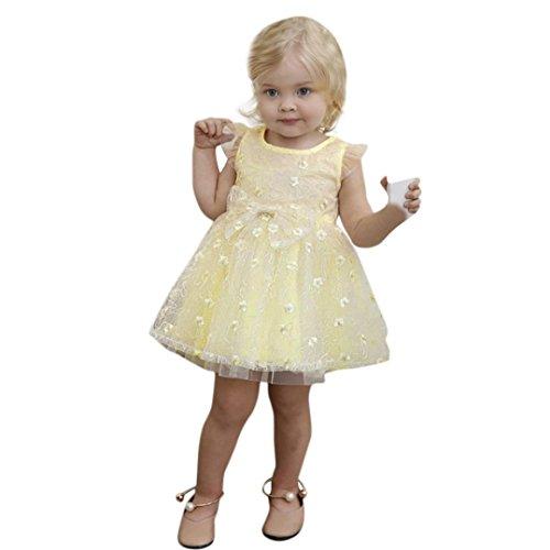 Malloom® Kinder Mädchen Baumwolle Langarm Solid Floral Bowknot T-shirt Kleid Blumen A-Linie Tüll Lang Hochzeit Kinderkleid Partykleid Baby Bowknot Spitze Prinzessin Rock Sommer (gelb, 100)