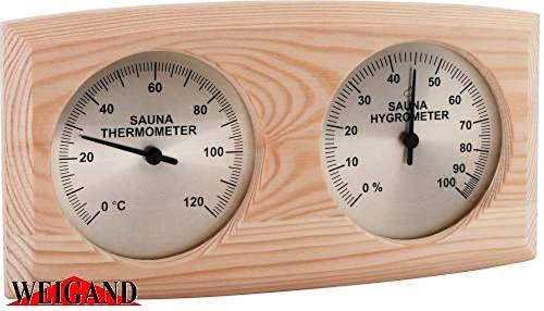 """Weigand """"NELINPELI"""" Thermometer - Hygrometer Kombination I Nachjustierbar I Nebeneinander angeordnet I In schönem Holzrahmen I Sauna I Saunazubehör"""