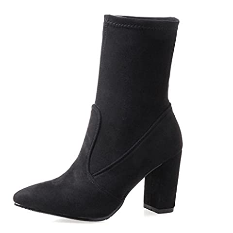 Oaleen Bottines femme hiver fourées suède bout pointu chaussures boots